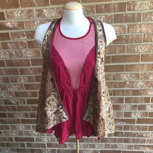 Buckle Daytrip Brown Printed Duster Vest No Size l